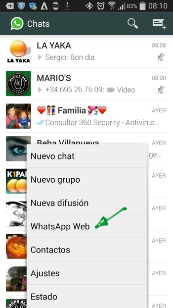 WhatsApp Web empezar