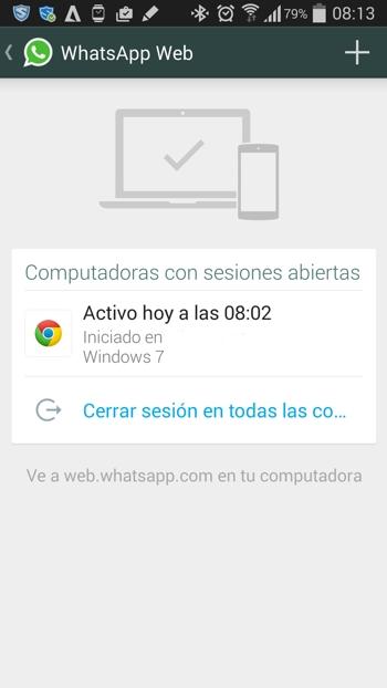 WhatsApp Web sesión abierta