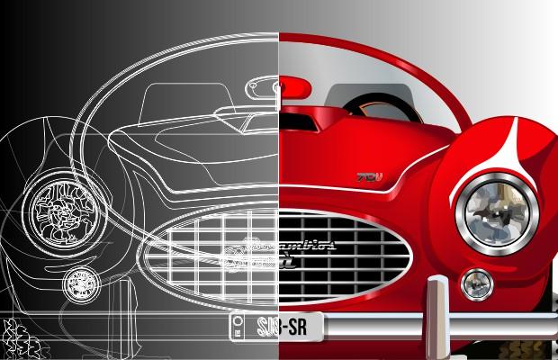 Recambios Gavà 1970 coche retro vector